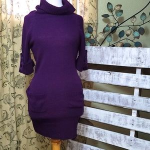 Size L Aviva Knot Dress Plum color with POCKETS